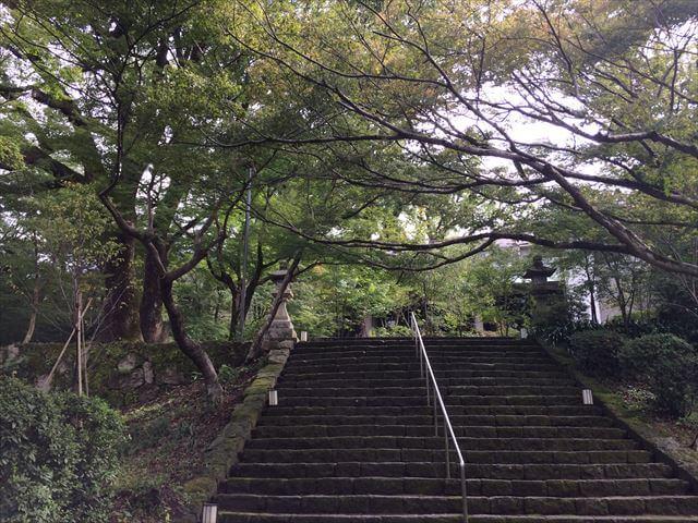 竈門神社(かまどじんじゃ)入り口階段 秋葉紅葉が綺麗です